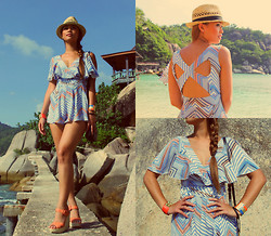 Jessica Tuong - Finders Keepers The Label Romper, Supre Hat, Valley Girl Cuffs, Betts Wedges - Freedom Beach