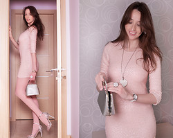 Tanya Petrova - Giorgio Armani Ring, Giorgio Armani Necklace, Tfnc London Dress, Fossil Watches -  ▓ Little nude dress