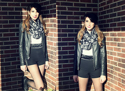 Alexis Kelly - Satin High Waisted Shorts, Express Leather Jacket, Studded Combat Boots, Etsy Skull Scarf - Skull.