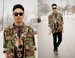 Mark Patrielle Bueno - Vintage Camo Jacket, The Mountain Wolf Shirt, H&M Pants, Zara Boots - Disparate Youth