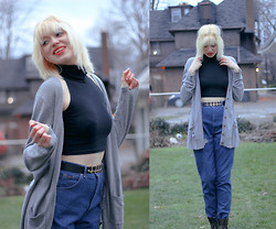 Emma B - American Apparel Sleeveless Turtleneck Crop Top, Cross Head Chain, Thrifted High Waisted Jeans - Angels in the Architecture