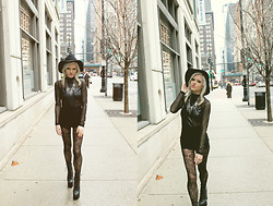 Rachel Lynch - Nasty Gal Black Hat, Gypsum Silver Cross Necklace, Gypsum Black Mesh Long Sleeve Shirt, Express Lace Tights, Jeffrey Campbell Human Aliens - Edie was a gypsy