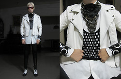 Andre Judd - White Leather Bomber Jacket, Oversized Mesh Tank, Joel Escober Bejewelled Neckpiece, Black Cabbage Rose Brooch, Miadore By Yek Balingit Acrylic Cuff With Lazer Cut Out Filigree Detail, Vintage Deadstock Two Tone Oxfords - WHITE OUT