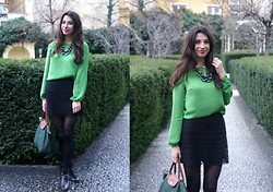 Gabriela Jordan - Lindex Silk Blouse, H&M Lace Skirt, Longchamp Shopper, Lindex Necklace - Green fairytale