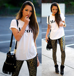 Jessica R. - Brashy Couture Meow Tshirt, Black Milk Clothing Jungle Cat Leggings (Sold Out), Nasty Gal Fringe Bag - Jungle Cat