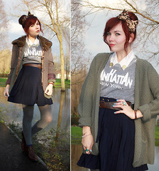 Paige Joanna Calvert - Topshop Manhattan Tee, New Look Navy Skirt, Shoppalu White Collared Shirt, The Lady Bird Likes Gold Collar Clips, Vintagestyle Me Tweed Jacket, Primark Grey Tights, Topshop Brown Boots, Topshop Green Cardie, Beckybwardrobe Leopard Headband - Rolling in the deep.