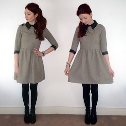 Hannah Louise - Sister Jane Contrast Collar And Cuffs Dress, Topshop Adonis2 Boots - Sister Jane