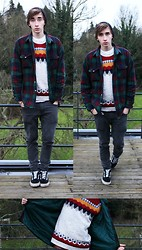Tobi B - Urban Outfitters Black Beanie, Urban Outfitters Plaid Jacket, Cheap Monday Grey Jeans, Vans Black&White Original, Topman Knitted Jumper - Winter Is All Over You