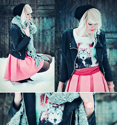 Kerti P. - Hat, Leather Jacket, Reserved Scarf, Bershka T Shirt, Selfmade Skirt - Oh sweet sugar be a wolf instead.