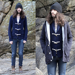 Tony Stone - Petit Bateau Blue Cardigan, American Apparel Jacket, Topman Shoes - MALO