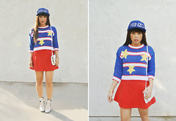 Yuka I. - Kenzo New Era X Cap, Vintage Stripe And Star Sweater, Cheap Monday Bag, Asos Red Skirt, Elizabeth And James Boots - Red, white, and kenzo blue