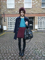 Ella Catliff - A.P.C. Peacoat, Topshop Faux Fur Hat, Whistles Scalloped Shirt, Massimo Dutti Green Jumper, American Apparel Burgundy Skirt, Massimo Dutti Black Ankle Boots, Mulberry Tote - London Collections Men, AW13 Day 3