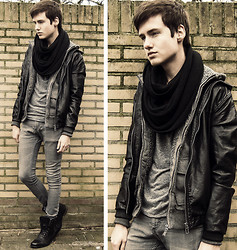 Erwin Bloemendal - H&M Circle Scarf, Fury Vest, H&M Leather Jacket, Tshirt, Skinny Jeans, Senator Leather Boots - They want to get up in your head