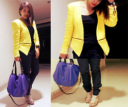 MIMI MAGNAIT - Zara Yellow Blazer, Zara Blue Bag, Forever 21 Basic Top, Uniqlo Black Full Length, Charles&Keith Studded High Heeled - 127: Zip it up all the way