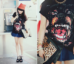 Willabelle Ong - Givenchy Inspired Rottweiler Tee, Spiked T Bar Heels - Rottweiler