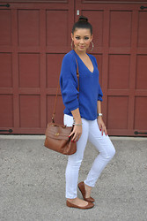 Raspberry Jam - Chivnova Blue Sweater, Charlotte Russe White Pants, Payless Brown Flats, Arafeel Brown Bag - Blue V-Neck Knit Sweater