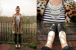 Lereese Atkinson - Topshop Coat, Primark Oversized Necklace, Chanel Quilted Pumps, H&M Leather Trousers, H&M Breton Tee -  LEOPARD PRINT, STRIPES AND LEATHER, OH MY!