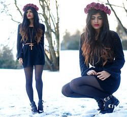 Kavita D - Crown & Glory Burgundy Floral Headband, Eclectic Eccentricity Gold Cross Necklace, Choies Cut Out Buckle Ankle Boots, Thrifted Black Knit Long Sleeve Dress - Roses In The Snow.