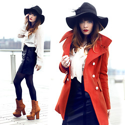 Rachel-Marie Iwanyszyn - Feather Fedora, Minkpink Juliette Blouse, Bb Dakota Leather Skirt, Acne Studios Pixel Boots, Sheinside Red Military Coat, Http://Www.Jaglever.Com - DEAD SEA.
