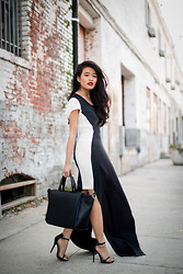 Olivia Lopez - Kaelen Two Tone Dress, Zara Bag - Monochrome
