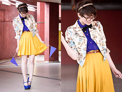 Barbara Zanella - Floral Jacket, Mustard Skirt, Blue Shirt - Flags & Mustard