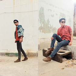 Fahmi Ramadhan - Wrangler Maroon Studded Colar Shirt, Unbranded 8 Bit Glasses, Topman Grey Textured Crocodile - Studded and stoned