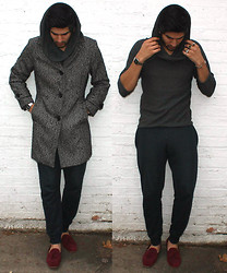 Flaneur Libertine - Thrifty Single Breasted Donegal Tweed Coat, Topman Cowl Neck Top, H&M Cuffed Sweatpants, Topman Miller Suede Loafers - Donegal Tweed and Cowl Neck meet.