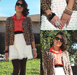 Cecilia R. - American Apparel Leopard Sweater, Shoedazzle Flower Ring, Refinery29 (Boutique) Pearls & Gems Stacked Bracelets, Refinery29 (Boutique) Black Stacked Beads Bracelet, H&M Cream/Ruffle Skirt, Forever 21 Brown Spotted Tights, Black Raybans - Sunshine Kitten