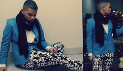 Ishmail Soto - H&M Knit Scarf, David Brooks Ltd. Blue Blazer, H&M Printed Pants - Remember you.