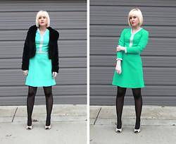 Hales Titus - Modcloth Tights, Target Heels, Cuffs Thrifted Dress, Modcloth Fur Coat - Misses Mint