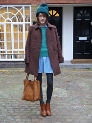 Ella Catliff - Topshop Green Bobble Hat, Topshop Denim Dress, Whistles Chunky Knit Sweater, Whistles Tweed Coat, Anya Hindmarch Tan Tote, Massimo Dutti Ankle Boots - London Collections Men AW13, Day 2