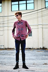 Jordy Gagnier - Button Up, Shades, Denim, Black Boots - Out and about