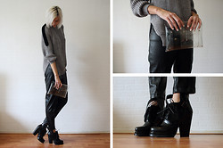 Sietske L - Choies Jumper, Minusey Transparent Clutch, H&M Leather Trousers, Choies Boots - Greyscale