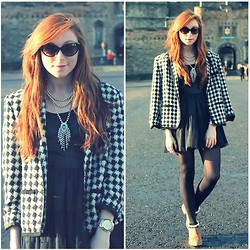 Erika Fox - The Vintage Set Dogtooth Jacket, Bershka Dress, Primark Necklace - Make it count.