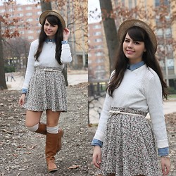 Lauren Pfieffer - Straw Fedora, Cream Sweater, Chambray Top, Floral Skirt, Bow Belt, Cream Knee Socks, Old Navy Boots - Layered Up.