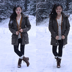 Zoe B. - Sashimi Anorak, Forever 21 Cardigan, Nordstrom Sweater, Nordstrom Necklace, H&M Socks, Steve Madden Combat Boots, Under Armor Leggings - Baby, It's Cold Outside