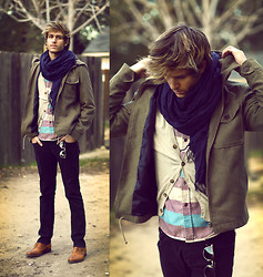 Adam Gallagher - Similar Here  > Jacket, Similar Here  > Scarf, Similar Here  > Shirt - Curious Winds