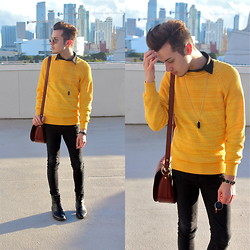 Michael Sedgwick - H&M Black Shirt, H&M Yellow Sweater, Pendulum Necklace, Fossil Satchet Bag - Yellow Emphasis.