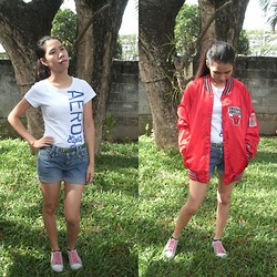 Pauline P. - Aero Top, Jag Shorts, Thrift Jersey Jacket - RED JERSEY