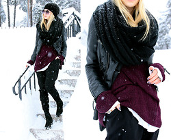 Linda R - H&M Leather Jacket, Forever 21 Trousers, Second Hand Plum Knitted Sweater - 40 Day Dream