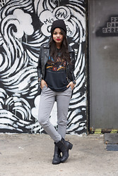 Erica Lavelanet - Vintage Harley Tee, Nasty Gal Moto Leather Jacket, Bar Iii Checked Trouser, Lucky Brand Moto Boots - Check, Please!