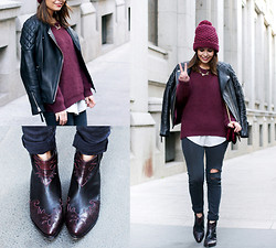 Sara E. - Asos Boots, Zara Beanie, H&M Jacket, Topshop Jeans - WESTERN BOOTS