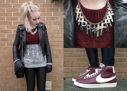 Sammi Jackson - Miss Selfridge Leather Jacket, Chic Wish Burgundy & Grey Colour Block Jumper, Chanel Bag, American Apparel Disco Pants, Cross Necklace, Nike Blazers - BURGUNDY & GREY
