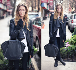 Leslie K - Alexander Wang Bag, All Saints Leather Jacket, Vince Sweater, Rag & Bone Jeans, Heimstone Leather Boots - LATCH