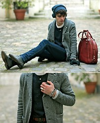 "Matthias C. - Swedish Hasbeens Bowling Bag, H&M Jeans, Uniforms For The Dedicated Blazer, Concrete Tiny Cube Necklace, Battle Pearls Bracelet, Velour Flecked Sweater, Urbanears Headphones, Agnès B. Beanie - ""Odysseus"""