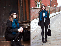 Heather Louise - Primark Scarf, M&S Coat, American Apparel Disco Pants, Topshop Boots, River Island Bag, H&M Jumper - Blue & Black