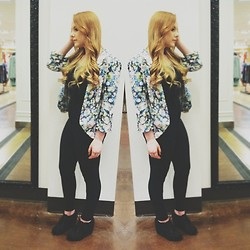 Anna Elise - Floral Blazer, American Apparel High Waisted Pants, Jeffrey Campbell 99 Tie - Winter Floral