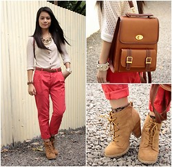 Zaira Chan - Promod Cardigan (Worn As Top), Topshop Trousers, Forever 21 Boots - Like A Traveler