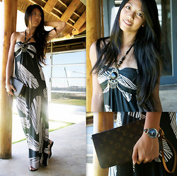 Rhea Hsu - Maxi Dress, Aldo Sandals, Gucci Watch, Louis Vuitton Clutch - Birds of a Feather