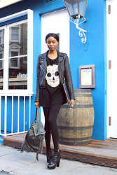 Natasha N - Naledi Skull Jumper, Topshop Leather Jacket, Zara Leggings, Asos Boots, Urban Outfitters Backpack - Model Off Duty